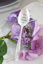 Load image into Gallery viewer, You Are Loved Hand-Stamped Vintage Silver-Plated Spoon