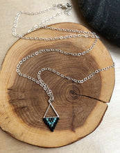 Load image into Gallery viewer, Mini Triangle Black and Turquoise Beadwork Necklace