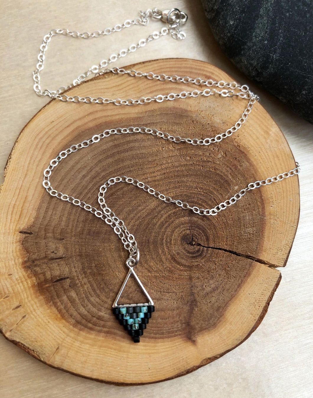 Mini Triangle Black and Turquoise Beadwork Necklace