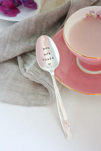 You Are Loved Hand-Stamped Vintage Silver-Plated Spoon