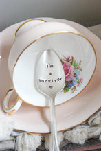 Load image into Gallery viewer, I'm A Survivor Hand-Stamped Vintage Silver-Plated Spoon