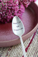 Load image into Gallery viewer, Nourish To Flourish Hand-Stamped Vintage Silver-Plated Fork