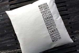 Canvas West Side Bus Scroll Pillow