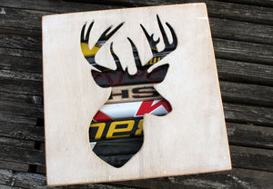Canadian Deer Head Reclaimed Hockey Stick Shadow Box