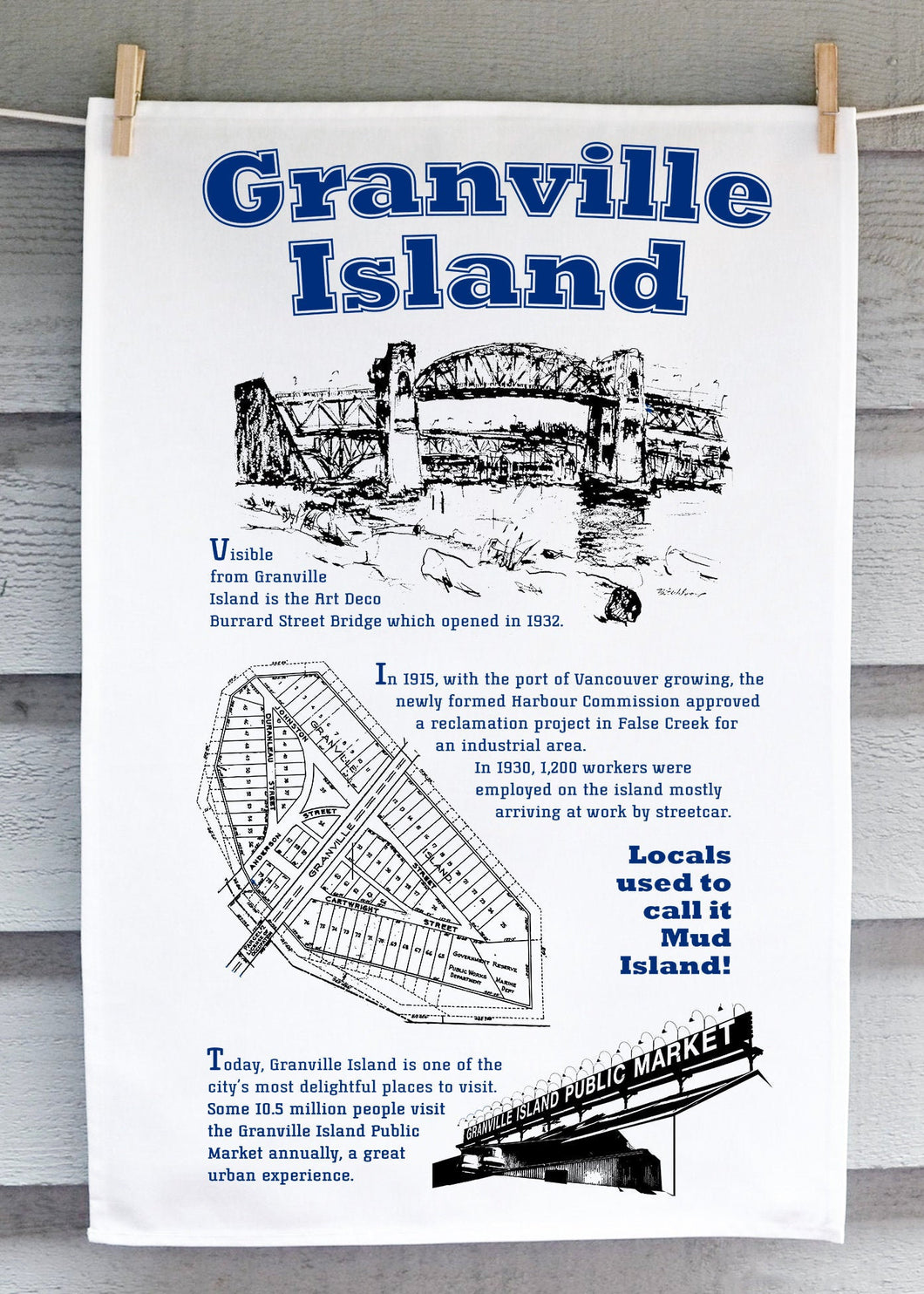 Handprinted Granville Island Tea Towel