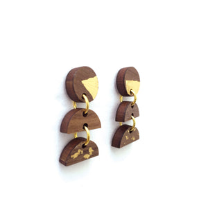 Wood and Gold Foil Dangle Earrings