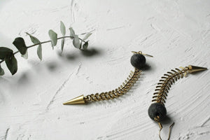 long concrete fishbone earrings