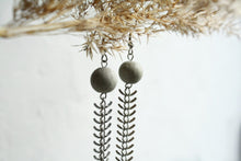Load image into Gallery viewer, long concrete fishbone earrings