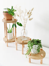 Load image into Gallery viewer, 2 Tier Copper and Oak Plant Stand - Solid Tiers
