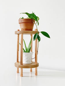 2 Tier Copper and Oak Plant Stand - Solid Tiers