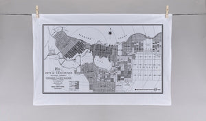 Hand printed City of Vancouver Tea Towel