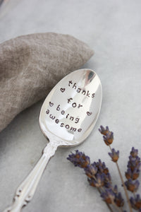 Thanks For Being Awesome Hand-Stamped Vintage Silver-Plated Spoon