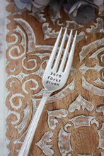 Load image into Gallery viewer, Zero Forks Given Hand-Stamped Vintage Silver-Plated Fork