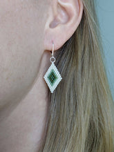 Load image into Gallery viewer, Diamond Shape Beadwork Earrings - Cactus Green