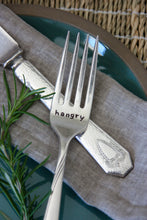 Load image into Gallery viewer, Hangry Hand-Stamped Vintage Silver-Plated Fork