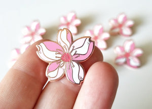 Lapel Pin - Rose Gold Cherry Blossom