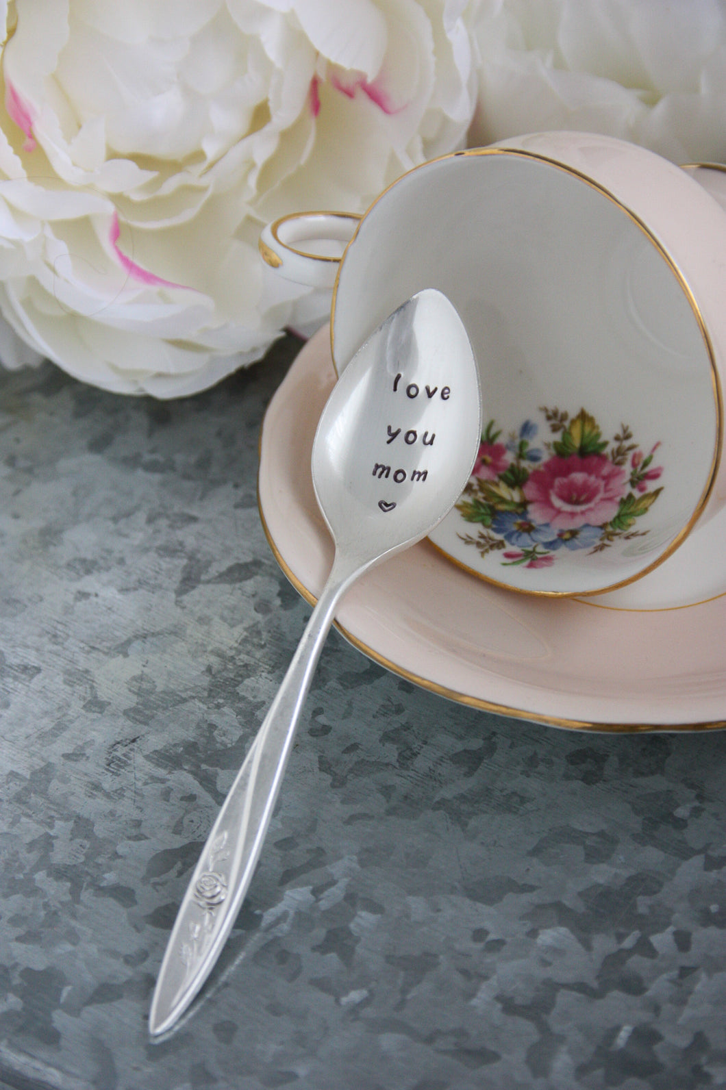 Love You Mom Hand-Stamped Silver-Plated Spoon