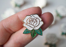Load image into Gallery viewer, Lapel Pin - Rose - White Sparkle