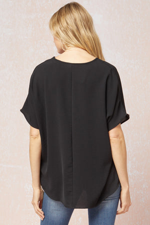 Entro V-Neck Flowy Top - Black