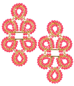 Lisi Lerch Beaded Ginger Earrings - Miss Pink