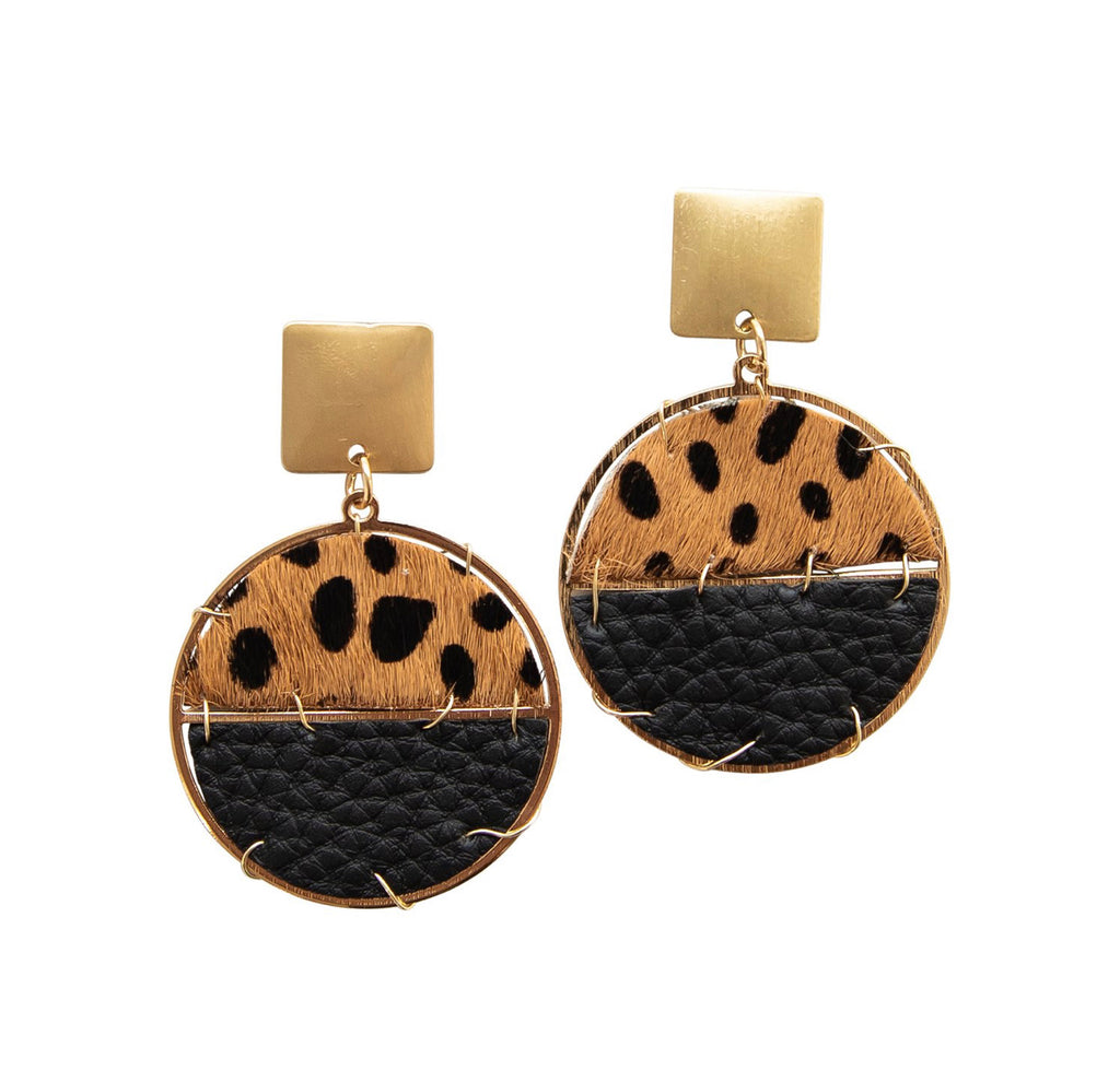 Michelle McDowell Sausalito Earrings - Black Cheetah