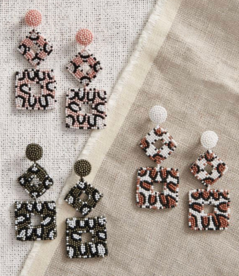 Mud Pie Leopard Beaded Earrings