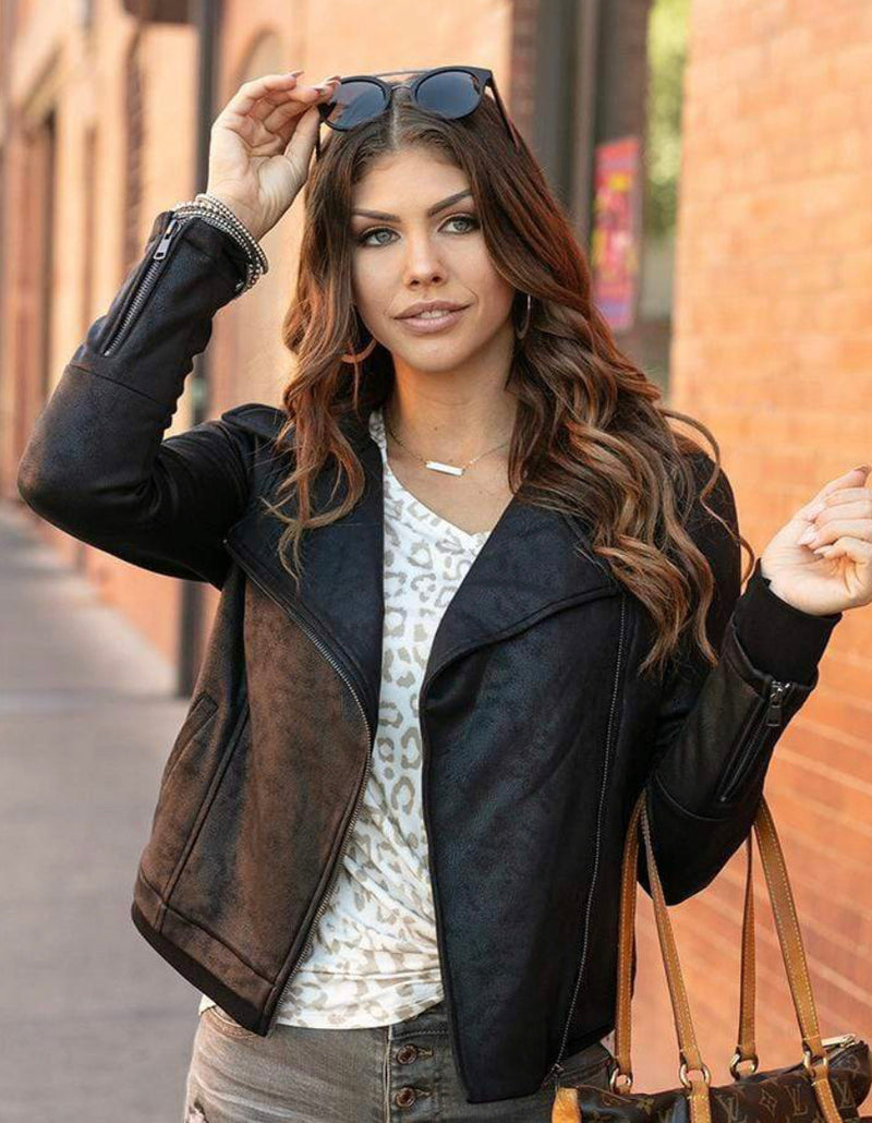 Grace & Lace Move Free Leather Look Moto Jacket - Black