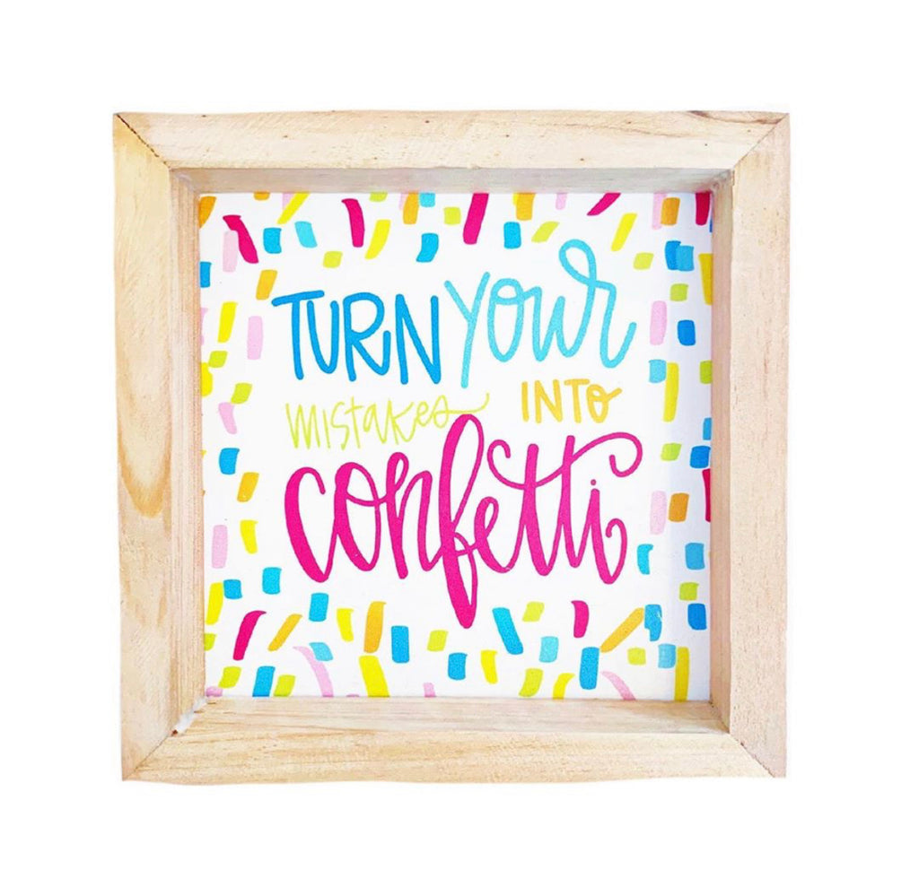 Mary Square All She Wrote Notes Wood Plaque - Confetti