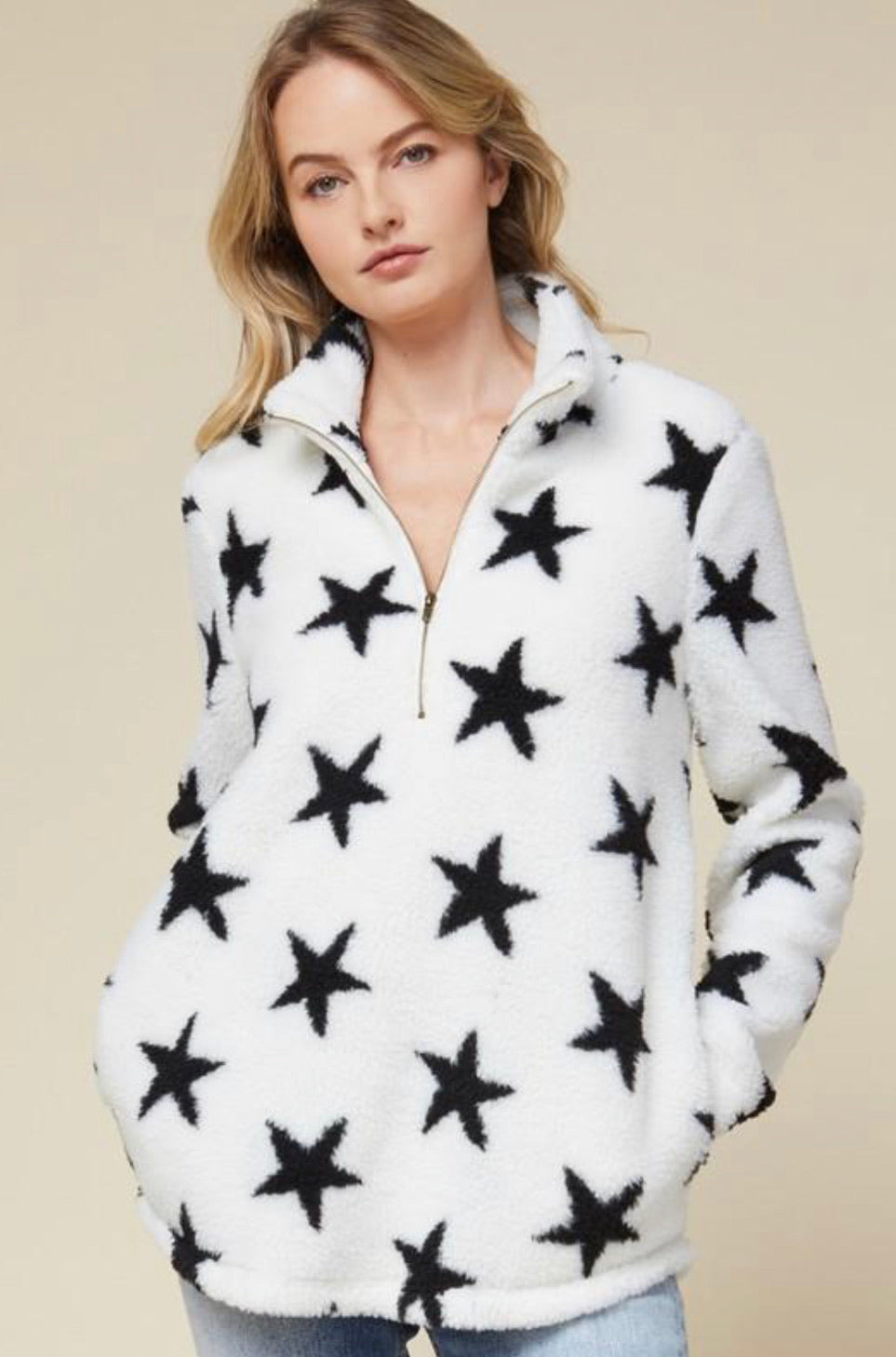 Entro Star Half Zip Sherpa Pullover- Ivory