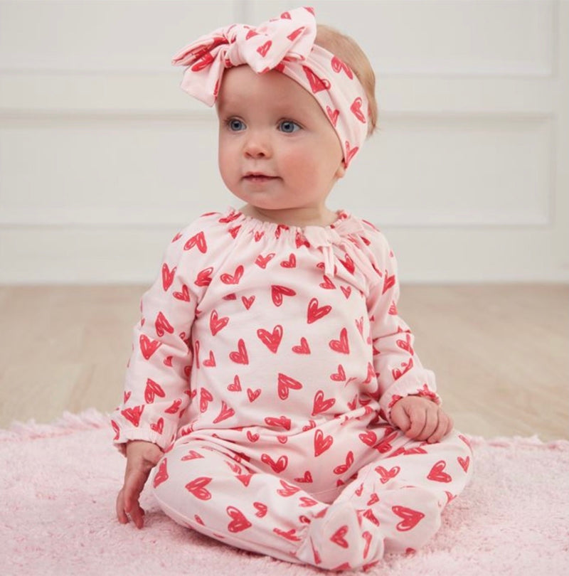 Mud Pie Heart Sleeper and Headband Set