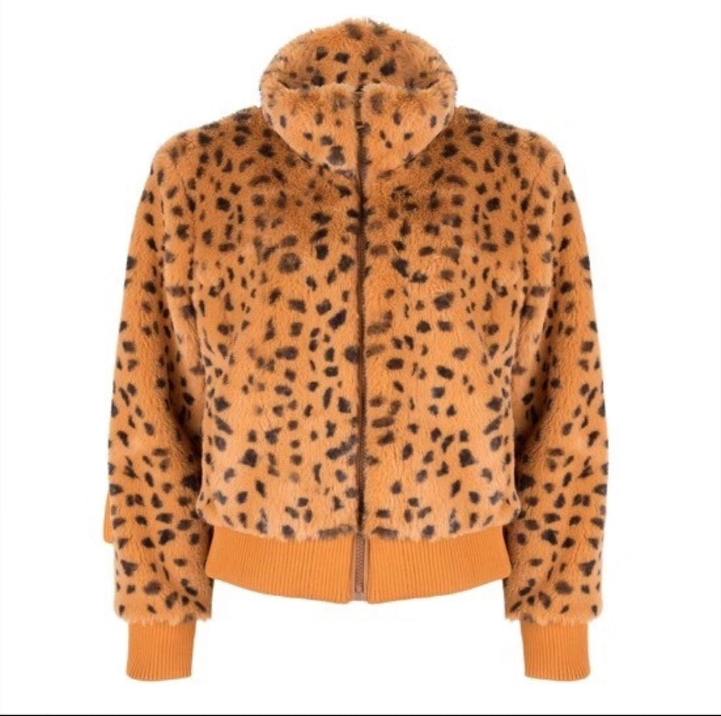 Leopard Teddy Bomber Jacket FINAL SALE