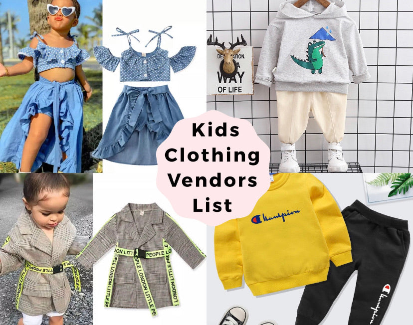 Kids Clothing and Accessories Vendor List!