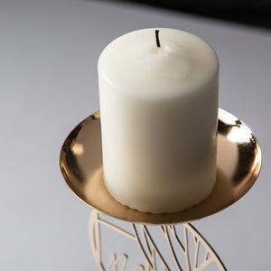 Elegant Bamboo Metal Candle Holder Small