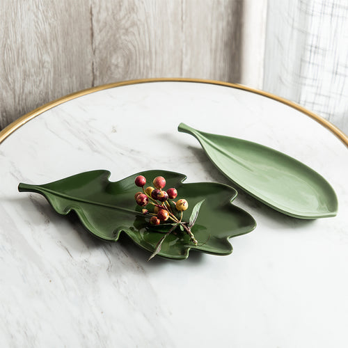 Innocent Russel Series Leaf Style Fruit Plate - Dark Green