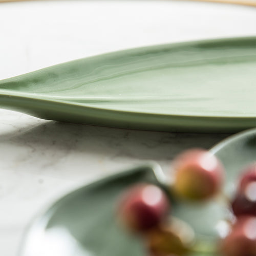 Innocent Russel Series Leaf Style Fruit Plate - Light Green