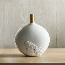 Load image into Gallery viewer, White Feather Ceramic Vase Sculpture