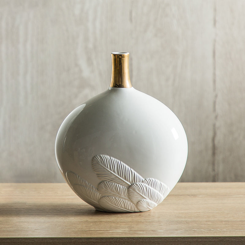 White Feather Ceramic Vase Sculpture