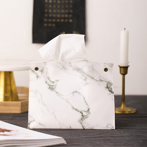 Nordic Style Marble Pattern Leather Tissue Box