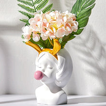 Load image into Gallery viewer, Girl With Bubble Gum Flower Arrangement Vase