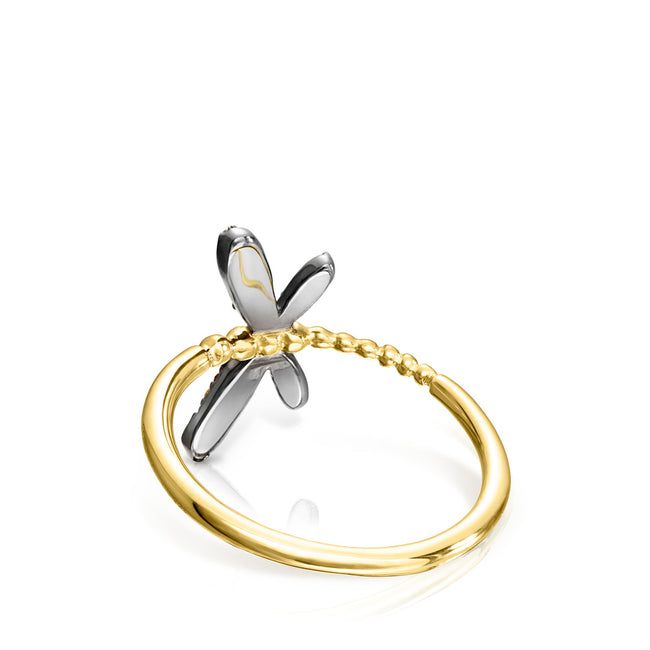 925 sterling silver Vermeil Real Mix Bera Ring with Zircons