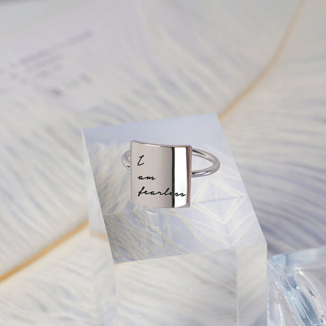 925 Silver I am fearless Ring Love beyond words Ring Positive Energy Inspirational Ring