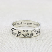 925 Sterling Silver Personalized Butterfly Ring Do What Makes Your Soul Shine
