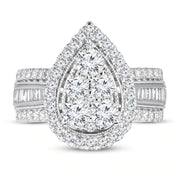 14mm Pear-Shaped Mozambique Diamond Engagement Ring Round/Baguette 14K Whte Gold for 25th Wedding Anniversary