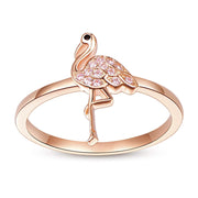 925 Sterling Silver Flamingo Ring Rose Gold Plated Dainty Rings Wedding Engagement Promise Rings Flamingo Gifts for Women