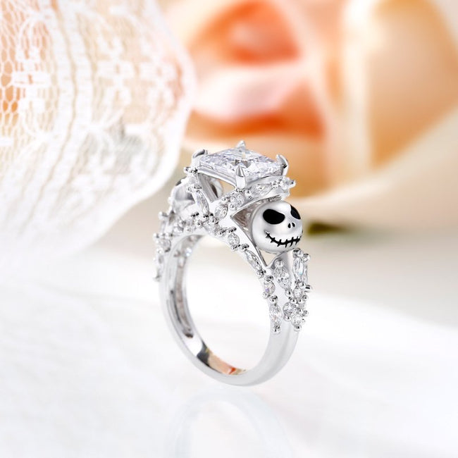 Jack Skellington Inspired Princess Cut Sterling Silver Ring