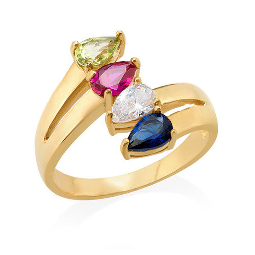 Gold Plated Mothers Ring with Four Birthstones