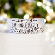 925 Sterling Silver Inspirational Bracelet -Choose Joy Bracelet - Be Kind and Brave - Accent Bracelet- Mountains Bracelet- Sloth bravelet