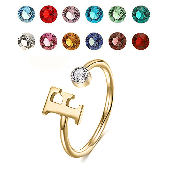 925 Sterling Silver Personalized Initial Name Ring with Simulated Birthstone Cusotm Initial Alphabet Letter Adjustable Size Stackable CZ End Wrap Open Ring