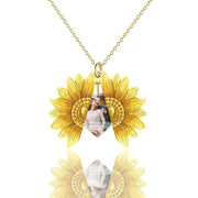 925 Sterling Silver/10K Gold You are My Sunshine Sunflower Photo Necklace for Mom Women Sunflower Locket Pendant Necklace