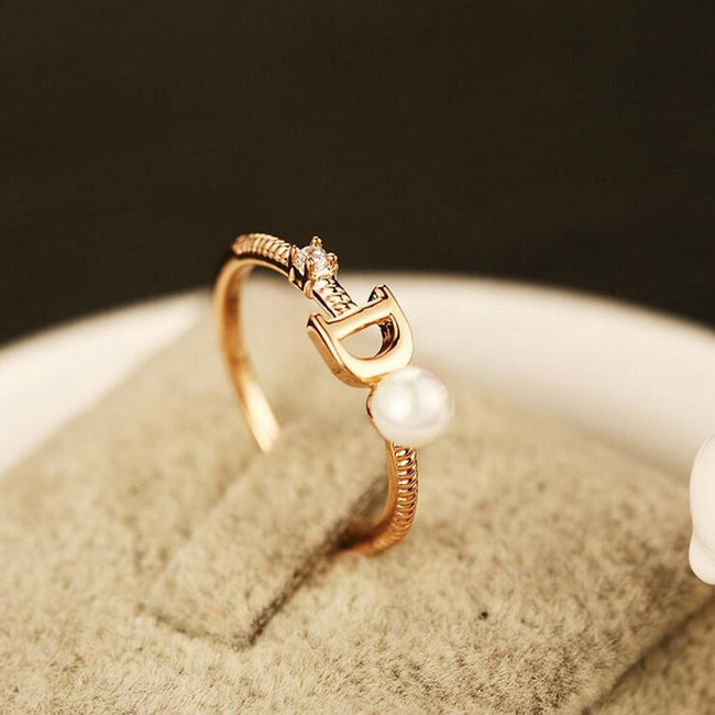 2020 New Brand Fashion Design Female Ring   Letter Ladies Pearl Rings Crystal Zircon Rose Gold Metal Rings Wedding Party Gift
